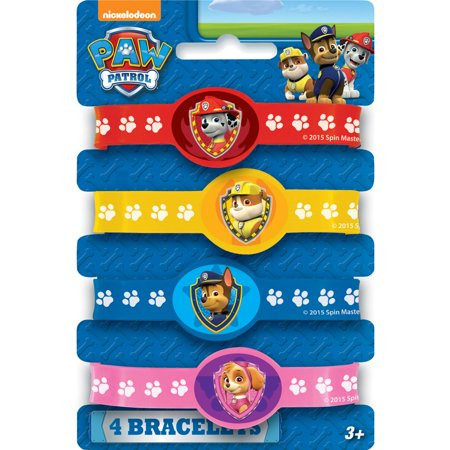 PAW Patrol Rubber Bracelet Party Favors, Assorted, 4ct