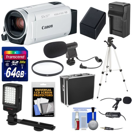 Semi Hard Camera Case - Canon Vixia HF R800 1080p HD Video Camera Camcorder (White) with 64GB Card + Battery & Charger + Hard Case + Tripod + LED Light + 2 Microphones Kit