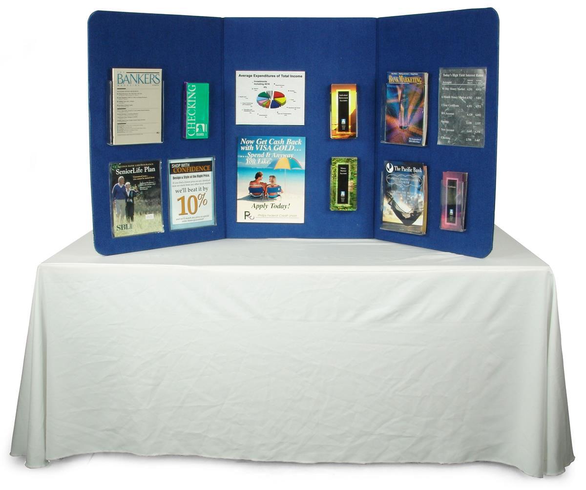 Displays2go 3-Panel Tabletop Display Presentation Board, 72 x 36, No ...