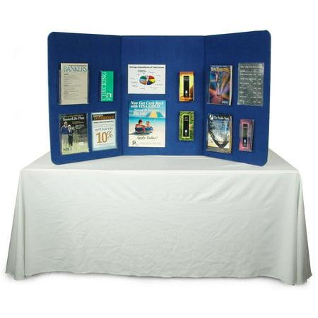 Displays2go 3-Panel Tabletop Display Presentation Board, 72 x 36, No Plastic Edging -  Hook & Loop-Receptive Fabric