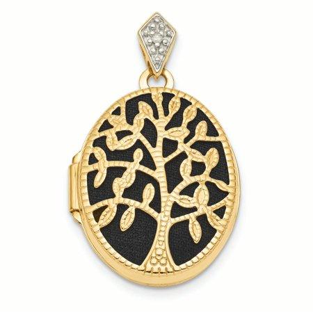 14K Yellow Gold Textured Diamond Black Fabric Oval Tree Locket Charm Pendant