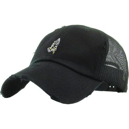 8eb72ccc4af Praying Hands Dad Hat Vintage Distressed Mesh Back Cotton Adjustable  Baseball Cap - Walmart.com