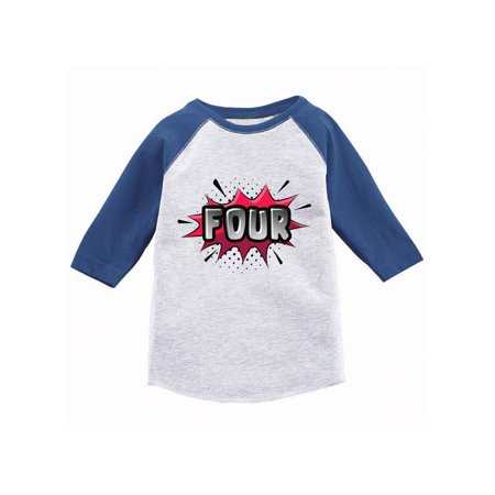 Awkward Styles Toddler 4th Birthday Raglan Shirt for 4 Year Old Kids 4th Birthday Shirt Girls Boys Toddlers Raglan Superhero Shirts Pop Art Shirt for Toddler Birthday Toddler Shirts (Girl Soper)