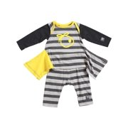 KidCuteTure Baby Girls Honey Yellow Stripe Lizzi Tunic Leggings Outfit Set 3-24M