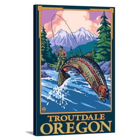 Fly Fishing Scene - Troutdale, Oregon - LP Original Poster (12x18 Gallery Wrapped Stretched Canvas)
