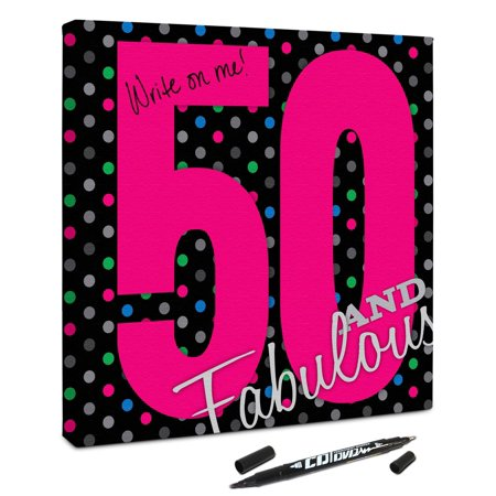 50 Birthday Decorations (Signable Canvas -Fabulous 50 Birthday)