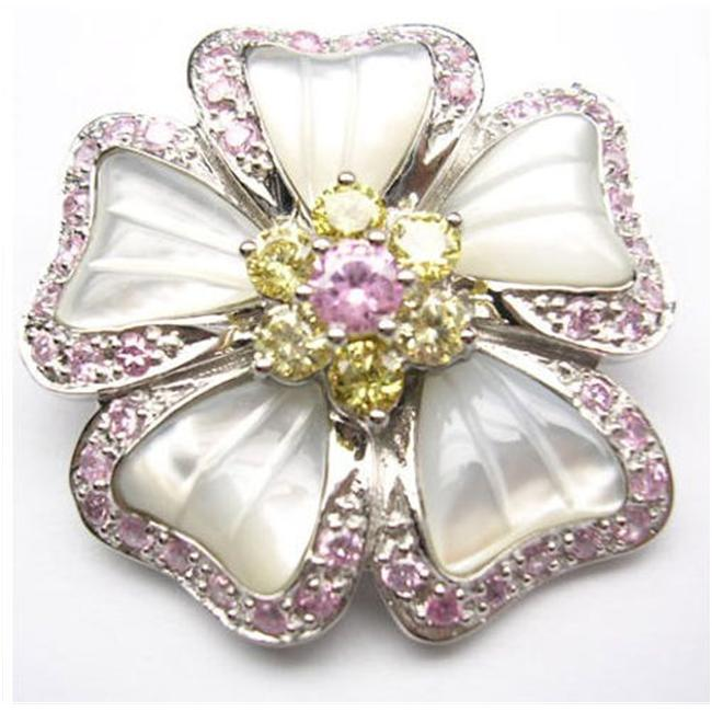 CZ PIN1061 CZ PINK YELLOW FLOWER PEARL PIN