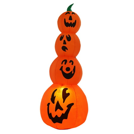 Homegear Halloween Decorations 6 Feet Inflatable Pumpkin Stack with LED Glow Light - Halloween Light Show Nj