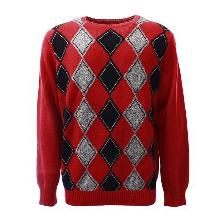 - Geoffrey Beene NEW Red Mens Size Large L Crewneck Argyle Print Sweater $75 #012
