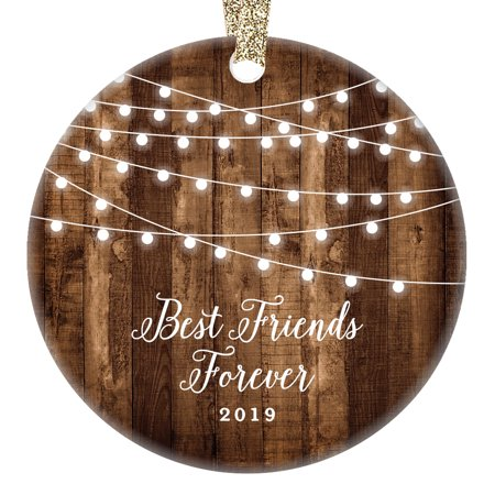 Best Friends Forever Gifts 2019, Bestie BFF Keepsake Christmas Ornament, Rustic Sister Friendship Women Xmas Farmhouse Collectible Present 3