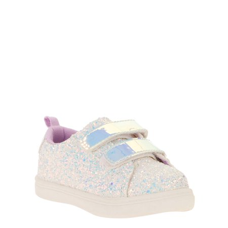 Flower Girls Shoes White (Wonder Nation Infant Girls' Glitter Velcro)