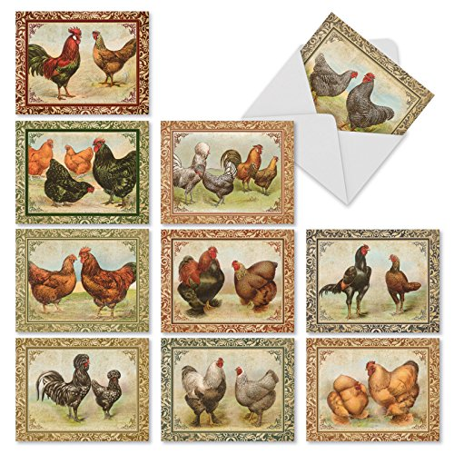 'M2351TYG CARD-A-DOODLE-DO' 10 Assorted Thank You Note Cards Featuring Beautiful Vintage Styled Hens and Roosters with Richly Colored Patterns and Background Swirls with Envelopes by The Best Card Com