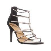 Womens MG35 Raissa Strappy Bejeweled Dress Sandals, Black