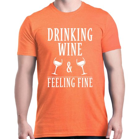 Shop4Ever Men's Drinking Wine and Feeling Fine Funny Wino Graphic T-shirt