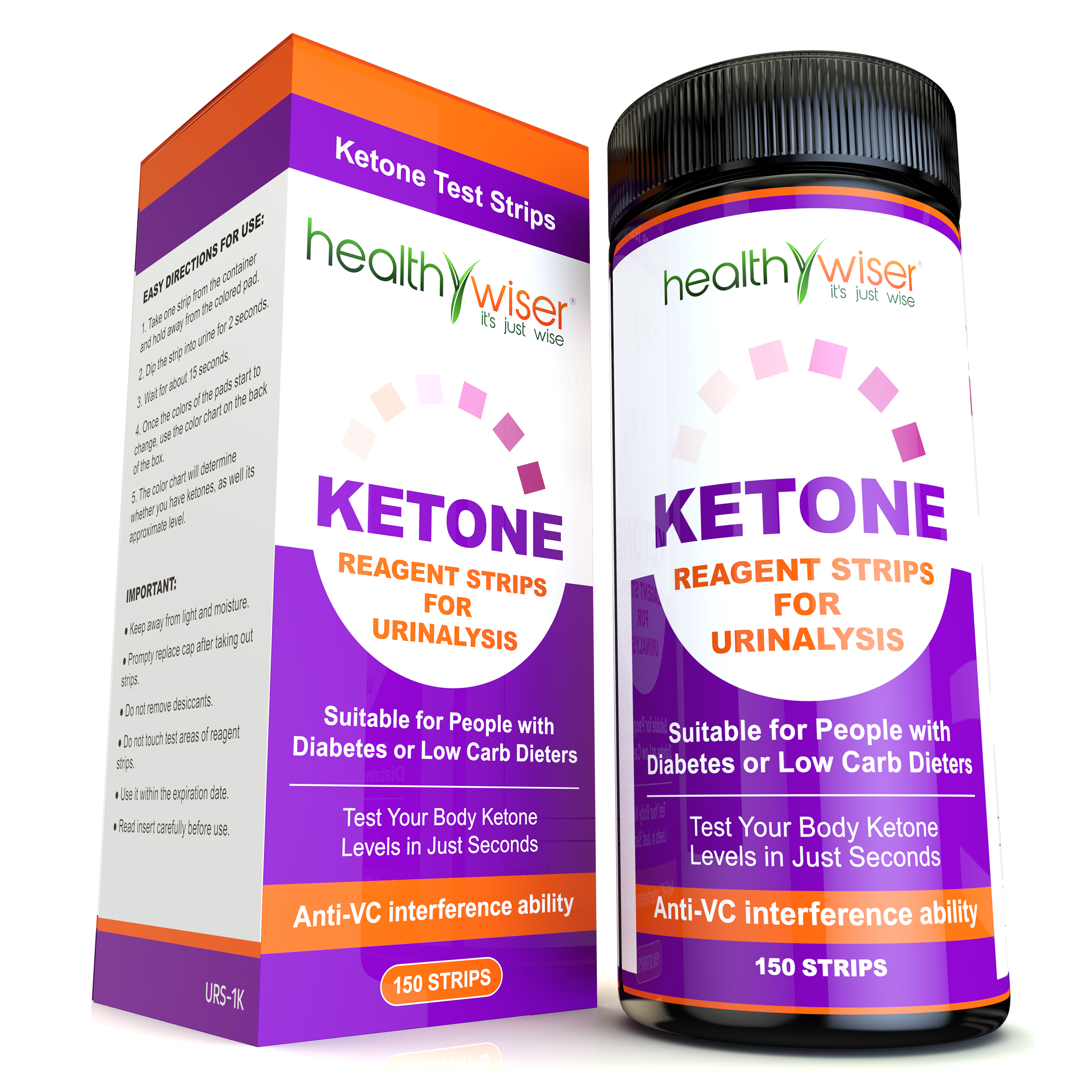 Ketone Strips 150ct, Professional Grade Ketone Urine Test Strips. Urinalysis Test Strips 99% Accuracy + Free eBooks