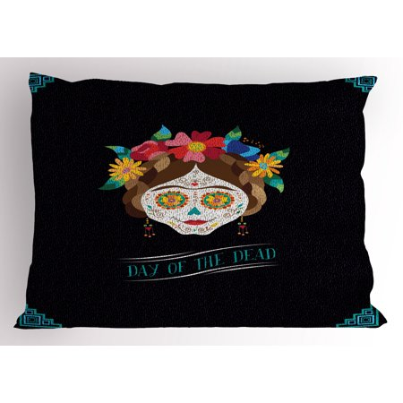 Day of the Dead Pillow Sham Hispanic Holiday La Calavera de la Catrina Inspired Hairstyle and Make Up, Decorative Standard Size Printed Pillowcase, 26 X 20 Inches, Multicolor, by - Who Is Catrina Day Of The Dead
