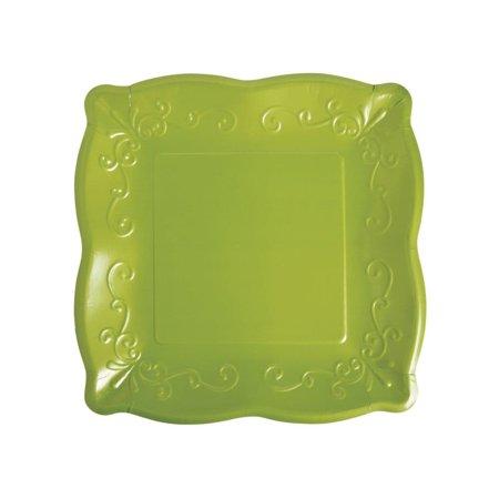 Green Scalloped Edge Paper Dinner Plates