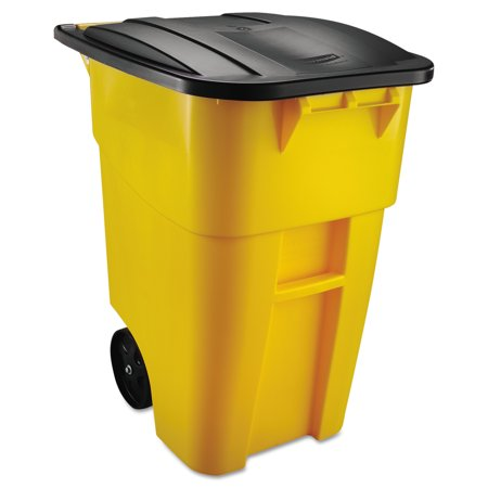 Rubbermaid Commercial Brute Rollout Container, Square, Plastic, 50 gal, Yellow