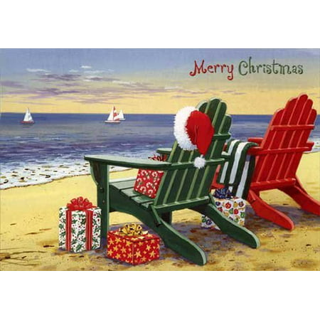 Red and Green Adirondack Chairs - Red Farm Studios Box of 18 Coastal Christmas Cards