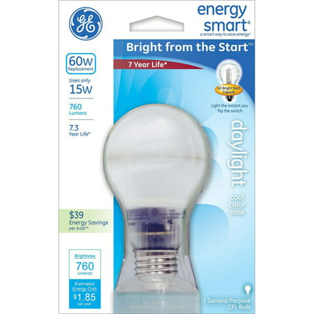 General Electric 15W Energy Smart Bright From The Start CFL Daylight Bulb, 1-Pack, 60W Equivalent