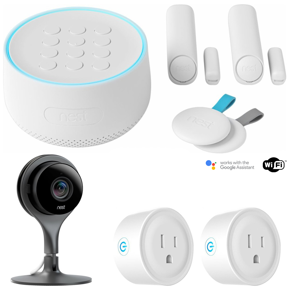 Nest Secure Alarm System Starter Pack (H1500ES) w/ Security Camera Bundle Includes, Nest Cam Indoor Security Camera and Deco Gear 2 Pack WiFi Smart Plug