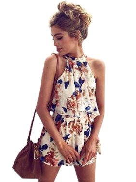 bac3097eff31 Product Image Rompers for Women Summer Casual Floral Short Jumpsuits  Sleeveless Playsuit 2 Piece Outfits