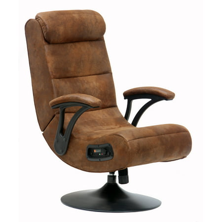 X Rocker Bluetooth Rocker Pedestal Gaming Chair Distressed Brown Suede
