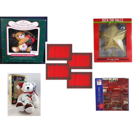 Christmas Fun Gift Bundle [5 Piece] - Hallmark Cinnamon Bear Porcelain  Ornament - Deck The Halls Gold Star Tree Topper 11.5