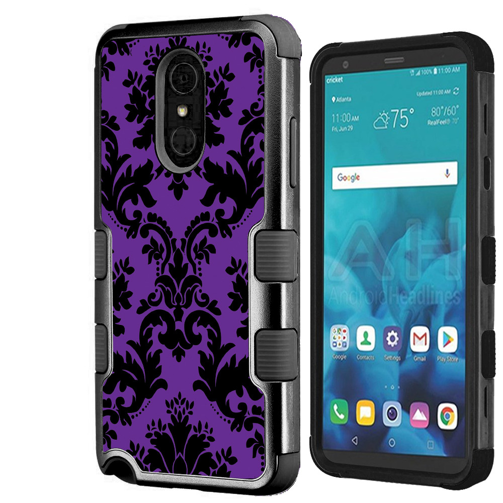 For LG Stylo 4 Case, OneToughShield ® ShockProof 3-Layer Protective Phone Case (Black/Black) - Victorian Purple/Black