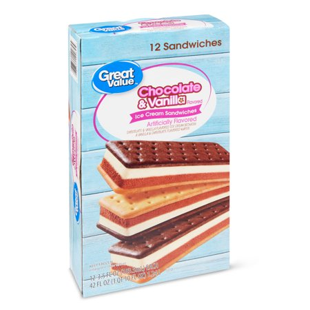 Great Value Chocolate & Vanilla Ice Cream Sandwiches, 42 oz, 12 Count