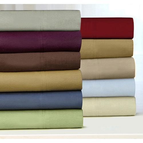 Tribeca Living Luxury Solid Flannel Deep Pocket Sheet Set King - Cashmere