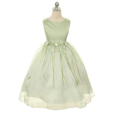 Little Girls Sage Rosebud Organza Flower Girl Dress 2 Sage Flower Girl