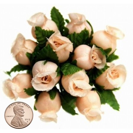 144 Miniature Poly Rose Silk Favor Flower Pick Wedding Shower - Peach](Flower Picks)