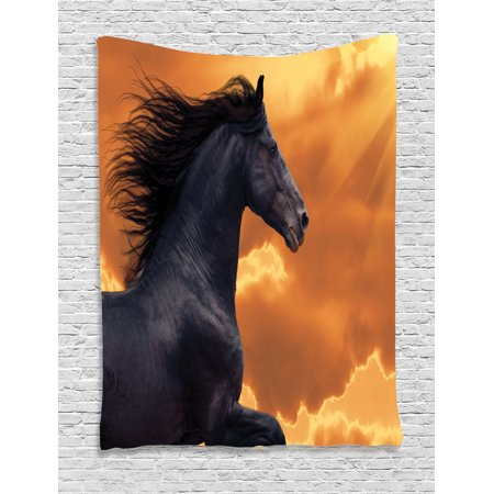 Horse Portrait (Animal Decor Wall Hanging Tapestry, Portrait Of Galloping Frisian Horse With Warm Hot Sun Rays Intensity Honor Grace Theme, Bedroom Living Room Dorm Accessories, By)