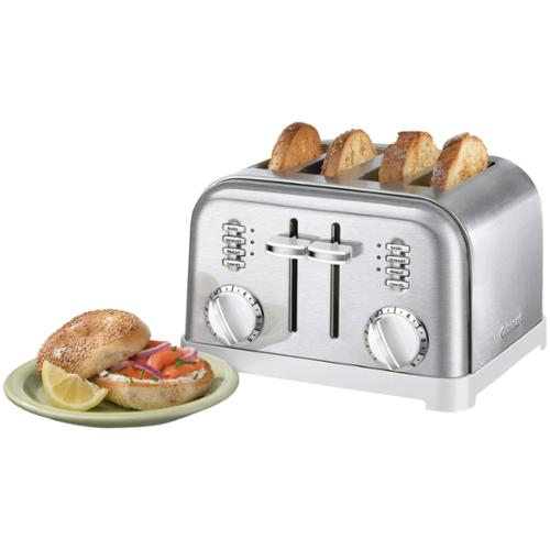 Cuisinart Metal Classic Cpt-180w Toaster - Toast, Bagel, Reheat, Browning - White, Brushed Stainless Steel, Chrome, Black (cpt-180w)