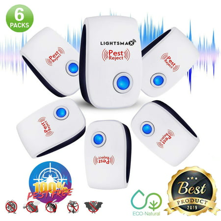6 PKS [2018 NEW UPGRADED] LIGHTSMAX - Ultrasonic Pest Repeller - Electronic Plug -In Pest Control Ultrasonic - Best Repellent for Cockroach Rodents Flies Roaches Ants Mice Spiders Fleas Indoor - Giant Cockroach