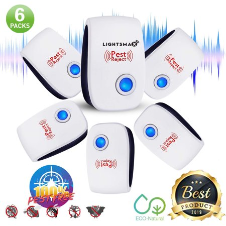 6 PKS [2018 NEW UPGRADED] LIGHTSMAX - Ultrasonic Pest Repeller - Electronic Plug -In Pest Control Ultrasonic - Best Repellent for Cockroach Rodents Flies Roaches Ants Mice Spiders Fleas Indoor