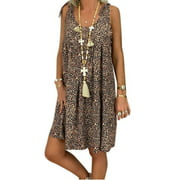 Summer Beach Floral Sleeveless Mini Shirt Dress For Women Casual Loose Oversized Paisley Flowing Party Kaftan Casual Sundress Holiday Short Sundress Beachwear Swimwear