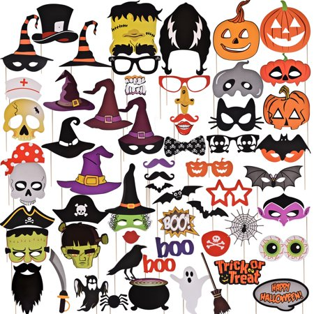 Halloween Decorations Photo Booth Props 68 PCs Kids DIY Photo Booth Props Kit for Halloween Party favors,Halloween Games For Kids Party - Halloween Prop Diy