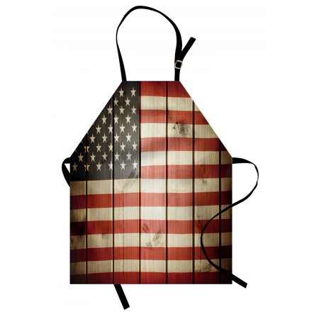 - American Flag Apron Usa Flag over Vertical Striped Wooden Board Citizen Solidarity Kitsch Artwork, Unisex Kitchen Bib Apron with Adjustable Neck for Cooking Baking Gardening, Blue Red, by Ambesonne
