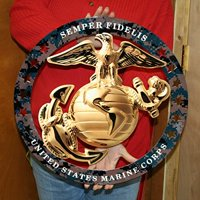 "USMC ENLISTED EGA ROUND LARGE WALL EMBLEM INSIGNIA 19""x19"" MARINE CORPS SEMPER FI"