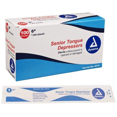 Dynarex Tongue Depressor Senior Sterile 6 Inches 100 Count Each