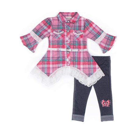 Plaid Lace Hem Belted Top & Legging, 2-Piece Outfit Set (Little Girls)