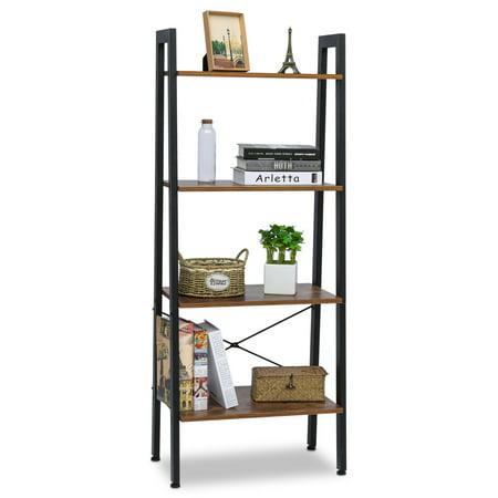 1Pcs Industrial Shelf Ladder Bookshelf Organizer 4-Tier Bookshelf Vintage Rustic Storage Rack Shelves with Wood Look and Metal Frame for Living Room Study Lounge Bedroom ()