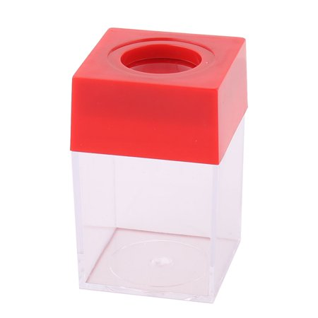 Office Plastic Square Shaped Paper Clip Dispenser Holder Box Case Container Red - Shaped Paper Clips