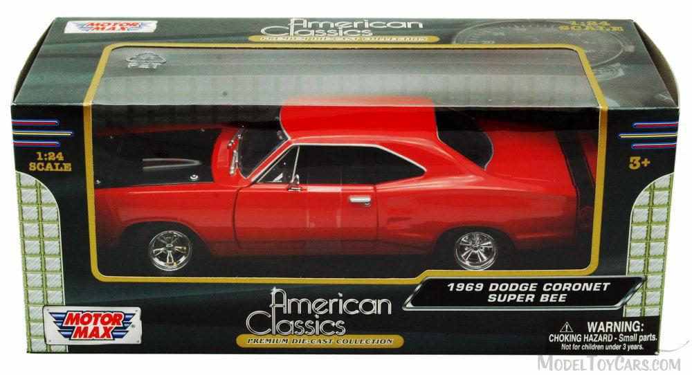MotorMax 1:24 1969 Dodge Coronet Super Bee Diecast Model Car Red 73315