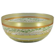 """Mosaic Gold Garland and Stripes Hand Painted Glass Serving Bowl 11"""""""
