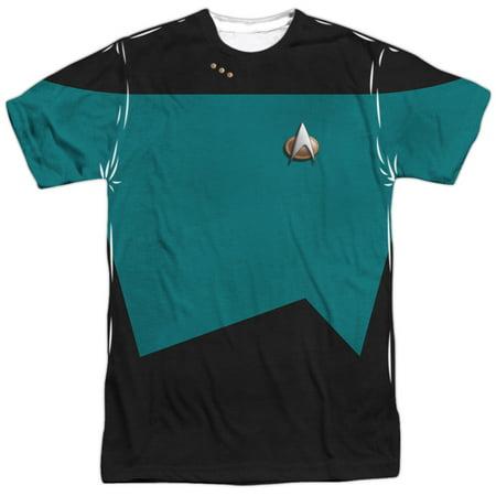 Star Trek Sci-Fi TV Series Retro Green&Black Uniform Adult Front Print T-Shirt (Star Trek Dress Uniform)