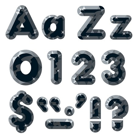 BLACK GEMS READY LETTERS 4IN UPPER LOWERCASE COMBO