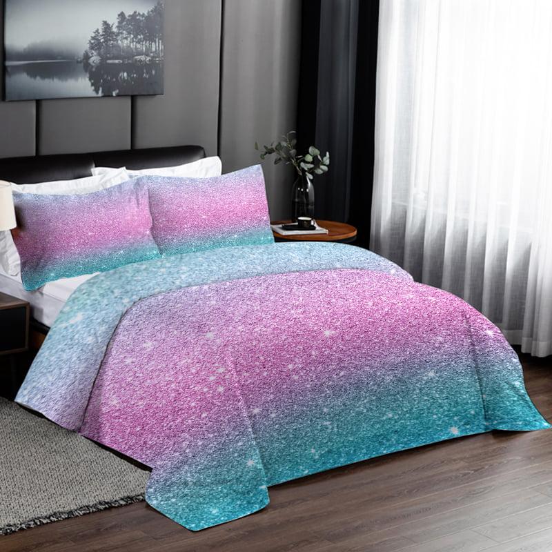 Queen Set Pastel Kids Duvet Cover, Pink Purple Bedspread Queen